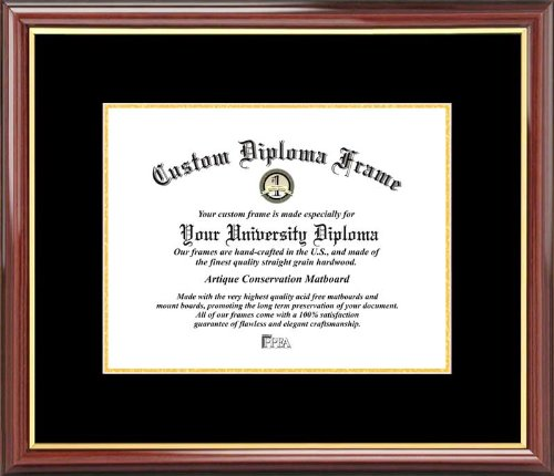 Plain Mat College & University - Black-Gold Mats - Mahogany Gold Trim - Diploma Frame (University Diploma Frame)