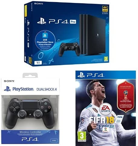 Playstation 4 Pro (PS4) - Consola de 1TB + 20 live card (Edición Exclusiva Amazon) + Sony Dualshock 4 V2 Mando Inalámbrico, Color Negro V2 + FIFA 18: Amazon.es: Videojuegos