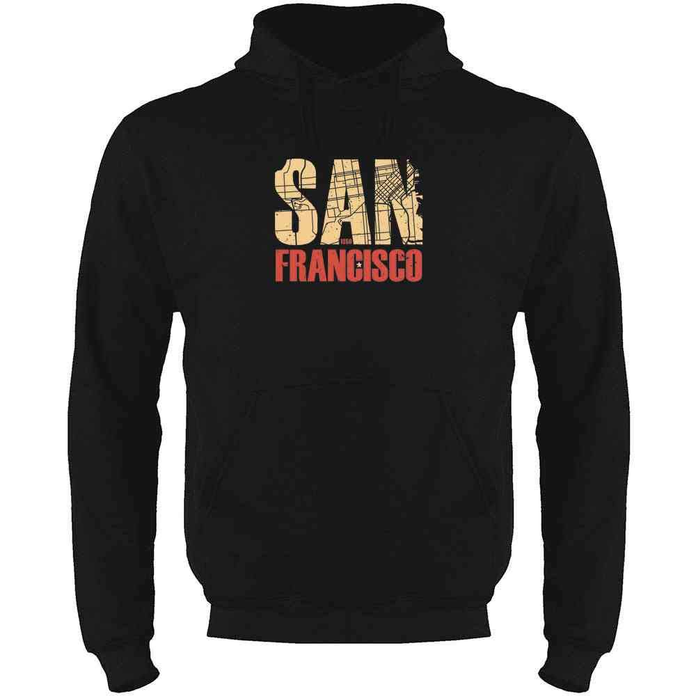 San Francisco California Retro Map Travel Mens Fleece Hoodie Sweatshirt