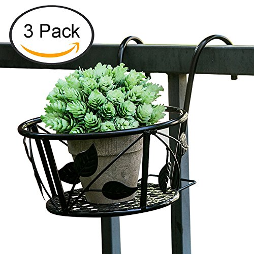 Tosnail Iron Art Hanging Baskets Flower Pot Holder - Great for Patio Balcony Porch or Fence - Pack of 3 (Black) by Tosnail