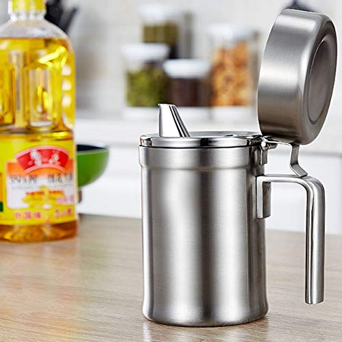 Olive Oil Can Stainless Steel Oil Dispenser Pot Leak Proof Edible Oil Salad Dressing Storage with Lid for Kitchen Cooking Restaurant BBQ (550ml / 18.79oz) by Agyvvt (Image #5)