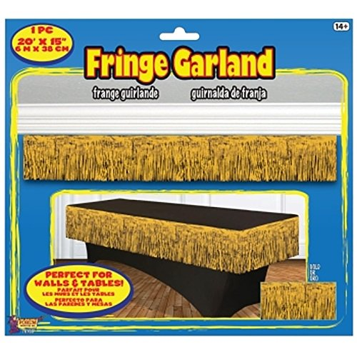 "Forum Novelties 76109 Party Supplies Tinsel Fringe Garland, 20"" x 15"", Gold"