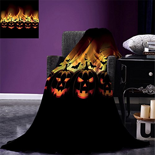 smallbeefly Vintage Halloween Digital Printing Blanket Happy Halloween Image with Jack o Lanterns on Fire with Bats Holiday Summer Quilt Comforter Black Scarlet for $<!--$50.76-->