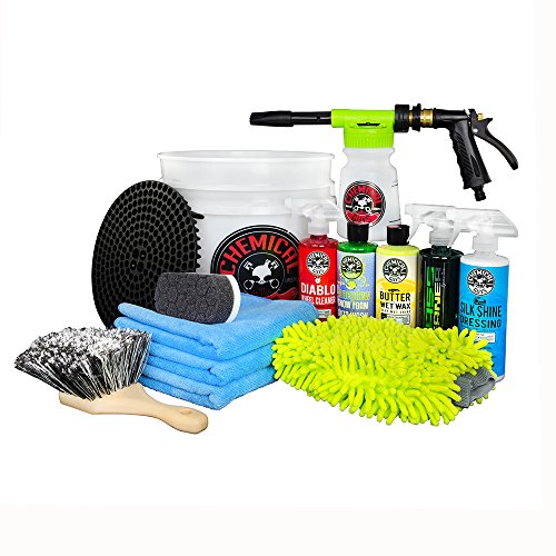 Chemical Guys HOL126 - 14-Piece Arsenal Builder Car Wash Kit with TORQ Blaster Foam Gun & Bucket, (5) 16 oz Bottles (Gift for Car & Truck Lovers, Dads and DIYers) (Truck Window And Cap Brush)