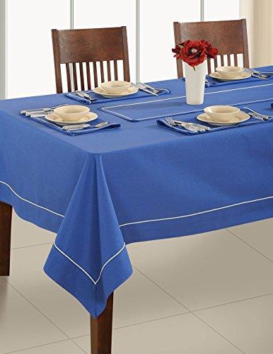 - ShalinIndia Handmade Ink Blue Table Linen Square Tablecloth- Premium Cotton Fabric 58 X 58 Inch