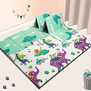 """Sensory & Learning Baby Play Mat, Foldable & Reversable playmat for Babies Infants, Toddlers, Kids,Extra Large Crawling mat,70"""" x 77.5"""" x 0.6"""", Floor Playing mats, Includes Travel Case"""