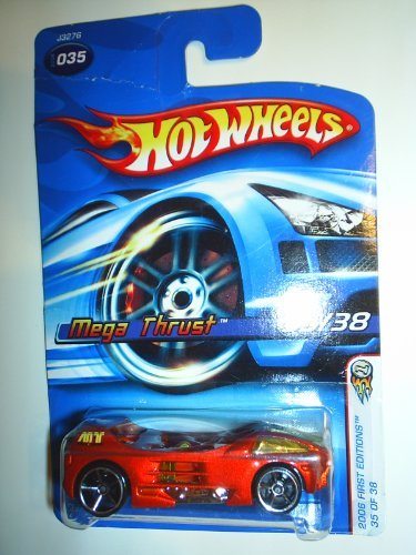 Hot Wheels 2006 First Editions -#35 Mega Thrust Orange Faster Than Ever Wheels #2006-35 Collectible Collector Car Mattel 1:64 Scale