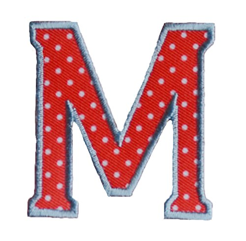 TrickyBoo Iron-On Letter Patch Craft Applique M Red White 5Cm For Fabric Names Crafts Jeans Clothing To Iron On Wall Decorating Sewing Arts Creative Decoration Fabric Mend Clothes Room Nursery Boy G - Polka Dot Wall Letters