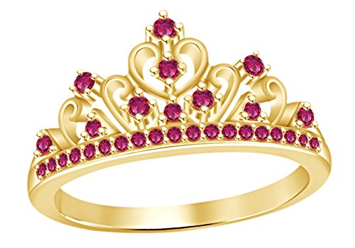AFFY Round Cut Simulated Ruby Princess Crown Ring In 14k Yellow Gold Over Sterling ()