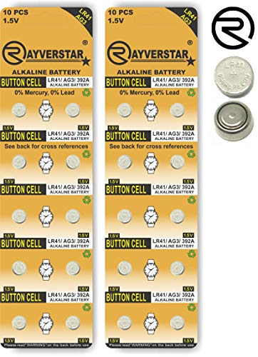 Rayverstar LR41 AG3 1.5 Volt Alkaline, 20 Batteries Fits: 392, 192, SR41, 384, 736, L736F (Full List Below)