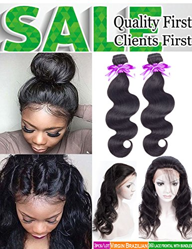 Pre Plucked 360 Lace Frontal With Bundles Brazilian Body Wave with Frontal Closure with Baby Hair 8A Unprocessed Brazilian Human Hair Bundles with Closure(18 20 with16'' 360 Frontal Closure) by Snow hair