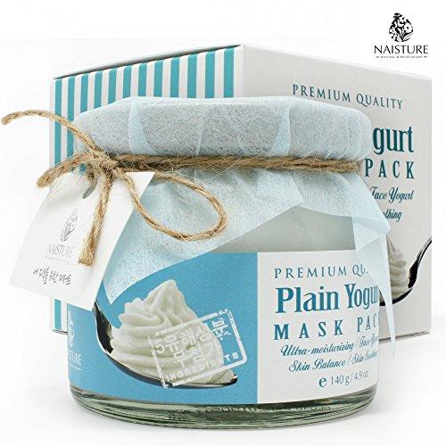 PREMIUM QUALITY PLAIN YOGURT MASK PACK, Ultra-mosturizing Face Yogurt Skin Balance for Smooth Skin 4.9oz (Pack Face Strawberry)