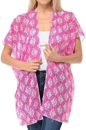 Basico Women`s Open Asymmetrical Hem Print Chiffon Vest Cardigan (Small/Medium Cardigan  Aztec Pink)