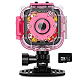Waterproof Camera for Kids,IMoway HD 1080P Kids Video Camera with 8GB Memory Card (Pink)