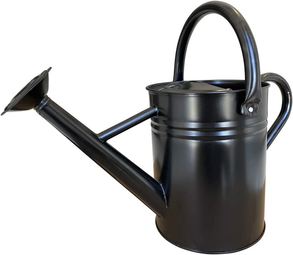SunnyTong Galvanized Steel Watering Can Metal Watering Can for Outdoor Plants with Copper Accents, 1 Gallon, Black