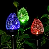 GIGALUMI Solar Lights Outdoor, Cracked Glass Flame Shaped Dual LED Garden Lights, Landscape/Pathway Lights for Path, Patio, Yard-Color Changing and White-3 Pack Review