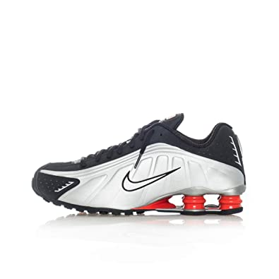 newest 1d807 7ab5b Amazon.com   Nike Mens Shox R4 Sneakers New, White Silver Red BV1111-100    Shoes