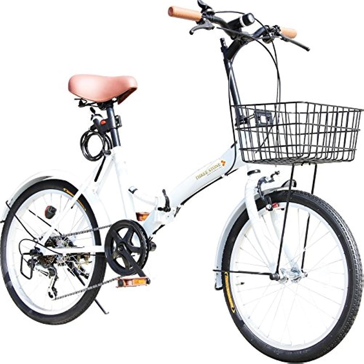 [해외] 접이식 자전거 20인치 P-008 바구니・프론트LED라이트・와이어 그린정 부착 시마노6 단변속 기어 접는 자전거소 경차 미니베로 PL보험 가입