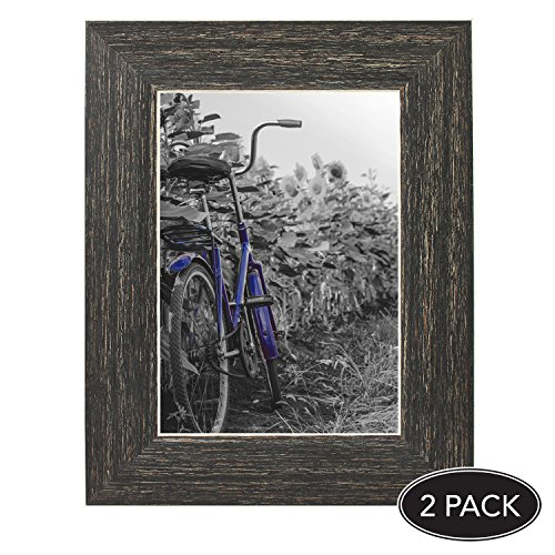 2-Pack, 5x7 inch Barnwood Rustic Picture Frame with Easel, Made for Wall and Table Top Display
