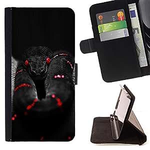 BullDog Case - FOR/Apple Iphone 5C / - / snake poisonous black red deep dark /- Monedero de cuero de la PU Llevar cubierta de la caja con el ID Credit Card Slots Flip funda de cuer