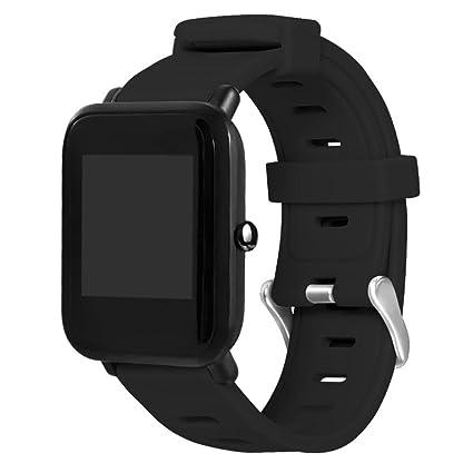 Fossrn para Huami Amazfit Bip Youth Deporte Banda Pulsera de Repuesto de Silicona Correa para Xiaomi Huami Amazfit Bip Youth Watch (Negro)