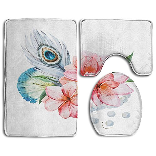 Guiping Watercolor Peony Anemone Flowers Peacock Feather And Beads Artful Image Bathroom Rug Mats Set 3 Piece,Funny Bathroom Rugs Graphic Bathroom Sets,Anti-skid Toilet Mat Set (Rug Anemone)