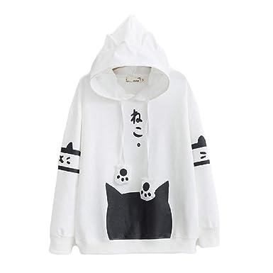 Amazon.com  CORIRESHA Japanese School Girl Cute Cat Ear Hooded Sweatshirt   Clothing 245889cb0ac8