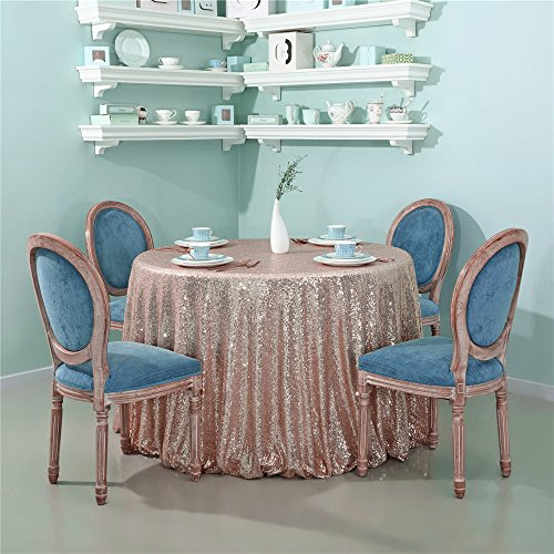 Buy gold sequin tablecloth round 90