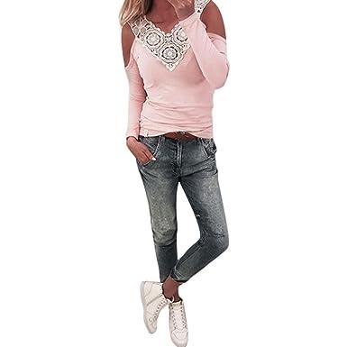 mcys Damenmode Blusen Elegante Blusen Festliche Blusen Damen Langarm Shirt  Schulterfrei Oberteile Spitzenbluse Tunika Tops Slim f4c1e7f1ba