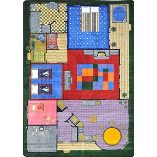 Playhouse Creative Rug - Joy Carpets 1453C Kid Essentials Active Play & Juvenile Creative Play House Rug, 5'4