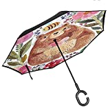 Double Layer Inverted Umbrella, with C-Shaped Handle, Windproof Watercolor Flower Decor Modern Illustration Of Cute Bear With Flowers And Bee Animal Spirit Artsy Nature Multi
