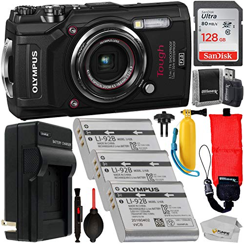 Olympus Tough TG-5 Digital Camera (Black) with Premium Accessory Bundle - Includes: SanDisk Ultra 128GB SDXC Memory Card + 2X Spare Batteries with Charger + Floating Wrist Strap & Handle + More