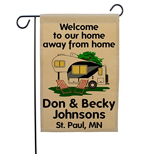 Home Away From Home Personalized Camping Custom RV Flags made our camp flag list of the most awesome camping flag and cool rv flags and camping flags spinners