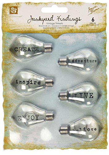 Prima Marketing 891534 Junkyard Findings Vintage Trinkets-Typo Bulbs, 6/Pack by Prima Marketing