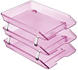 Acrimet Facility 3 Tiers Triple Letter Tray Frontal (Clear Pink Color)