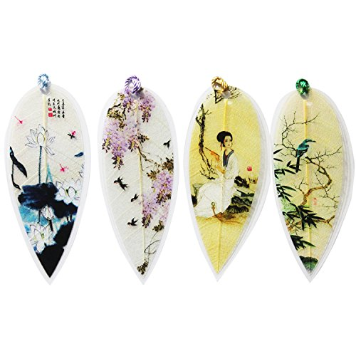 Leaf Bookmarks - Made of Real Leaves 4PCs Landscape vein bookmark with Traditional Chinese painting Business Gift