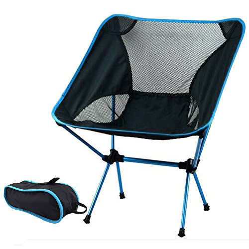 htweight Heavy Duty Folding Outdoor Picnic Beach Travel Fishing Camping Chair Stool Backpacking Chairs,Durable 600D Thicken Oxford Cloth,Sturdy Aluminum Alloy Frame,with Carry Bag ()