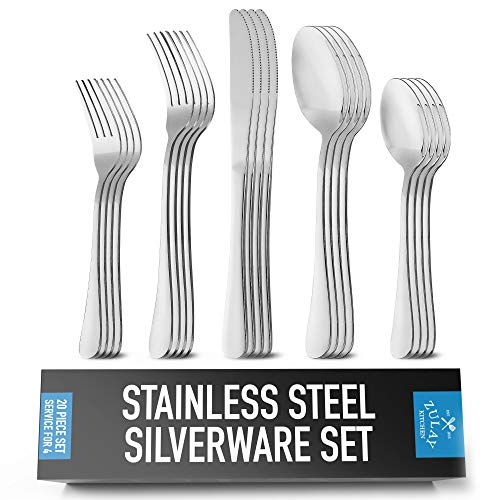 Zulay (20-Piece) Deluxe Silverware Set – Premium Stainless Steel Cutlery Set – Complete Flatware Set For 4 – Knives…