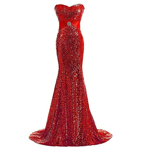 Noche Vestido De En Us16 Con Lentejuelas Fengbingl Del La color Tamaño Rojo Cola Tubo Verde Largo Pez Parte Superior 4qERxd