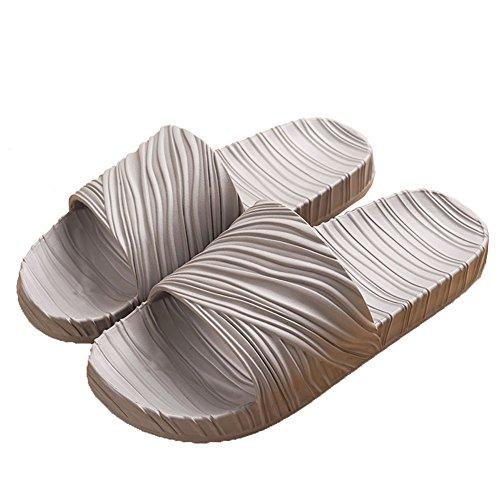 Houses Line (LINE BLUE Women and Men Bath Slipper Anti-Slip For Indoor Home House Sandal,SL03,Grey,40.41)