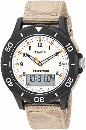 cc14ff7eb Timex Men's TW4B16800 Expedition Katmai Combo 40mm Khaki/Black/Natural  Nylon Strap Watch