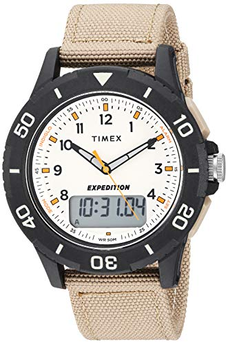(Timex Men's TW4B16800 Expedition Katmai Combo 40mm Khaki/Black/Natural Nylon Strap Watch)