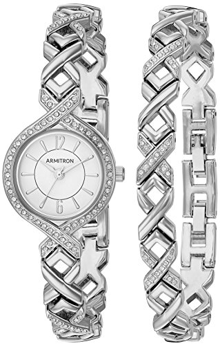 5412WTSVST Swarovski Crystal Accented Silver-Tone Watch and Bracelet Set (Crystal Silver Tone Metal)