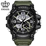 SMAEL Men's/women's Sports Analog Quartz Watch Dual Display Waterproof Digital Watches with LED Backlight 1617 (Army Green)