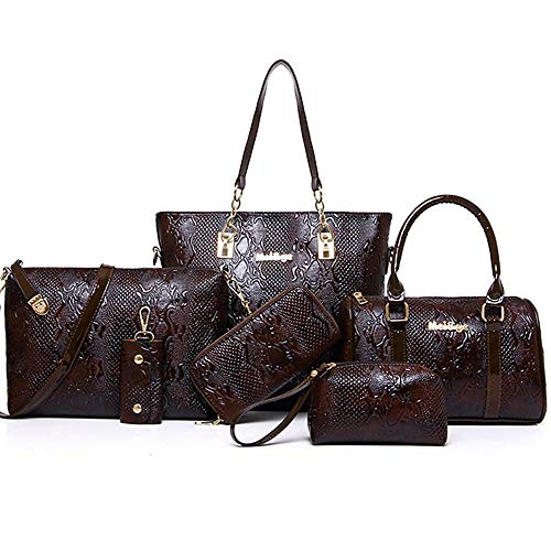sac Bag À Set Tout Grande Coffee Bags main Sacs à Sequin Red Material ré Blue Purse Zipper QZTG De Capacité 6 Women's Special Main Fourre Pieces Set dwq0dH