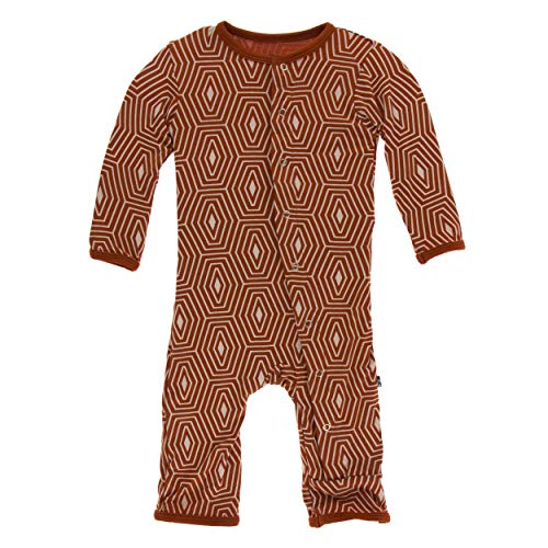 Kickee Pants Little Boys Print Coverall Snaps - Red Tea Tortoise Shell, 18-24 Months