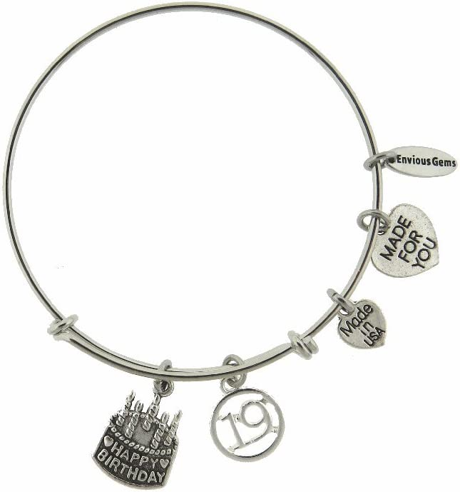 Envious Gems Happy 19th Birthday Silver Tone Expandable Wire Bracelet