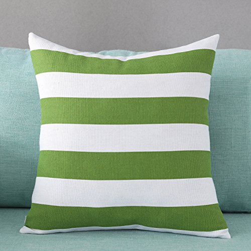 - TAOSON Dark Green and White Stripes Geometric Pattern Cotton Blend Canvas Pillow Sofa Throw Pillow Case Decor Cushion Cover with Hidden Zipper Closure Only Cover No Insert 18x18 Inch 45x45cm