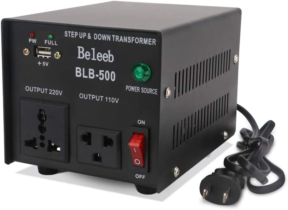 Beleeb 500W Auto Step Up & Step Down Voltage Transformer Converter, 110-120 to 220-240 Volts with 5V USB Port