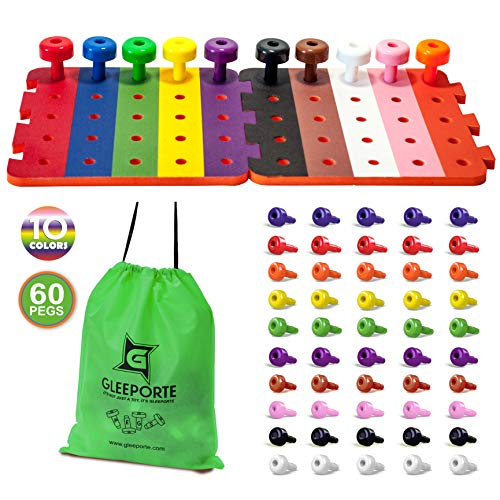 (Patterned Stacking Peg Board Set Toy | JUMBO PACK | Montessori Occupational Therapy Early Learning For Fine Motor Skills, Ideal for Toddlers and Preschooler, Includes 50 Plastic Pegs & 2)